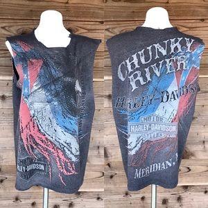 Harley Davidson Chunky River Eagle Flag Cut Off Lg